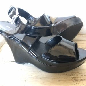 Black Wedge Sandals, Express, size 8